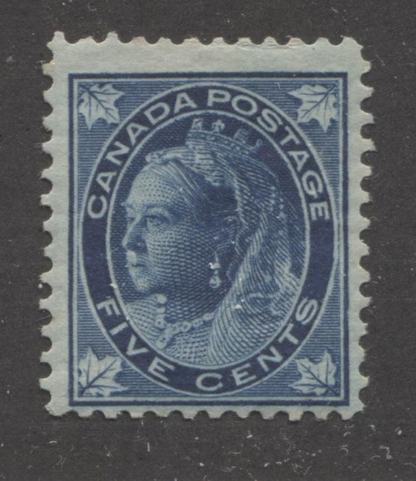 Canada #70 5c Dark Blue on Bluish Queen Victoria, 1897-1898 Maple Leaf Issue, A Fine Mint Example Brixton Chrome