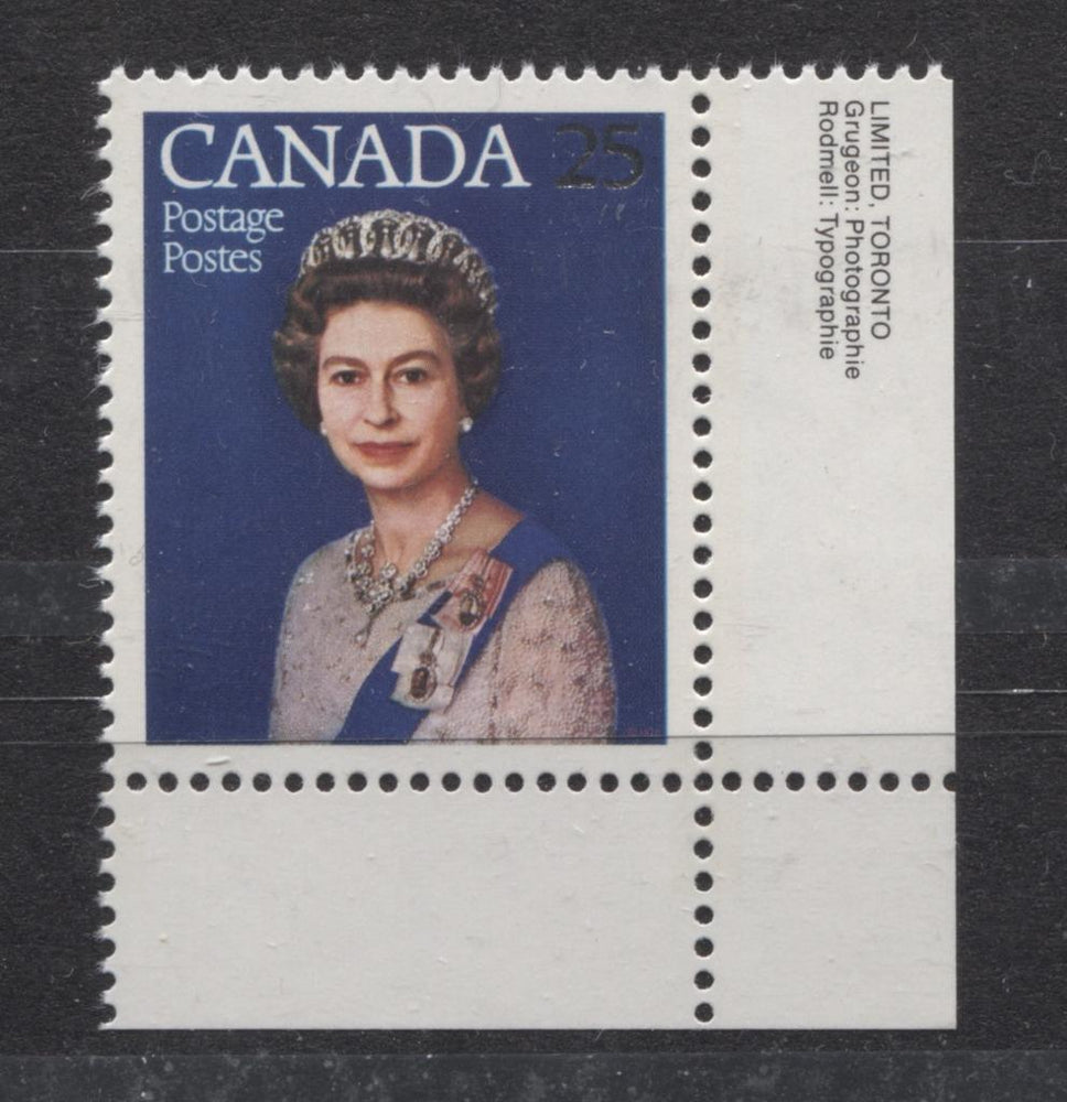 Canada #704 (SG#855) 25c Multicoloured Queen Elizabeth II 1977 Silver Jubilee Issue Paper Type 3 VF-84 NH Brixton Chrome