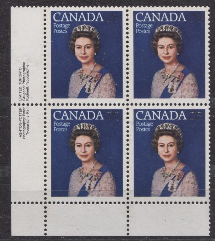 Canada #704 (SG#855) 25c Multicoloured Queen Elizabeth II 1977 Silver Jubilee Issue Paper Type 4 LL Block VF-75 NH Brixton Chrome