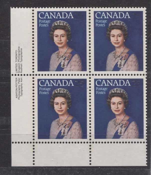 Canada #704 (SG#855) 25c Multicoloured Queen Elizabeth II 1977 Silver Jubilee Issue Paper Type 4 LL Block VF-80 NH Brixton Chrome