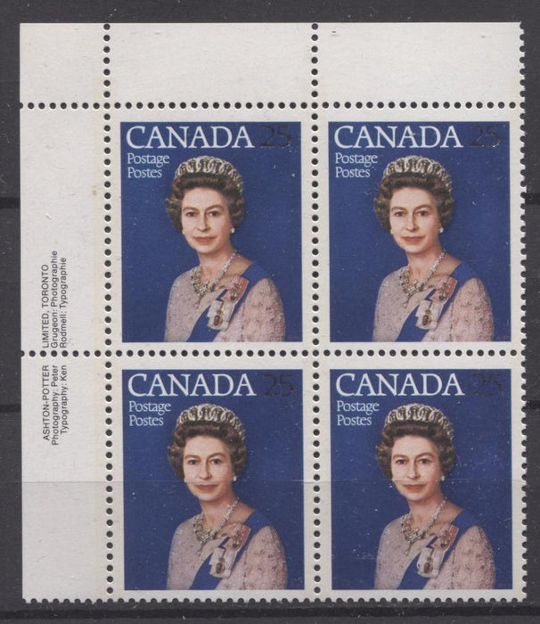 Canada #704 (SG#855) 25c Multicoloured Queen Elizabeth II 1977 Silver Jubilee Issue Paper Type 4 UL Block VF-75 NH Brixton Chrome