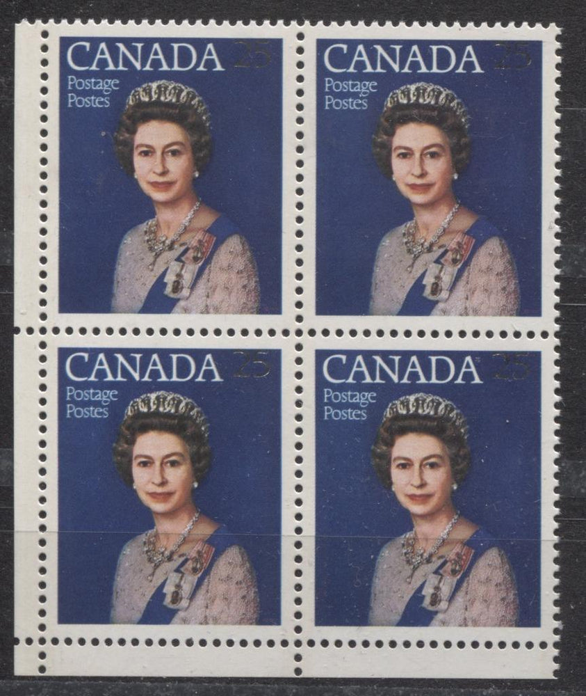 Canada #704 (SG#855) 25c Multicoloured Queen Elizabeth II 1977 Silver Jubilee Issue Paper Type 5 Blank LL Block VF-84 NH Brixton Chrome