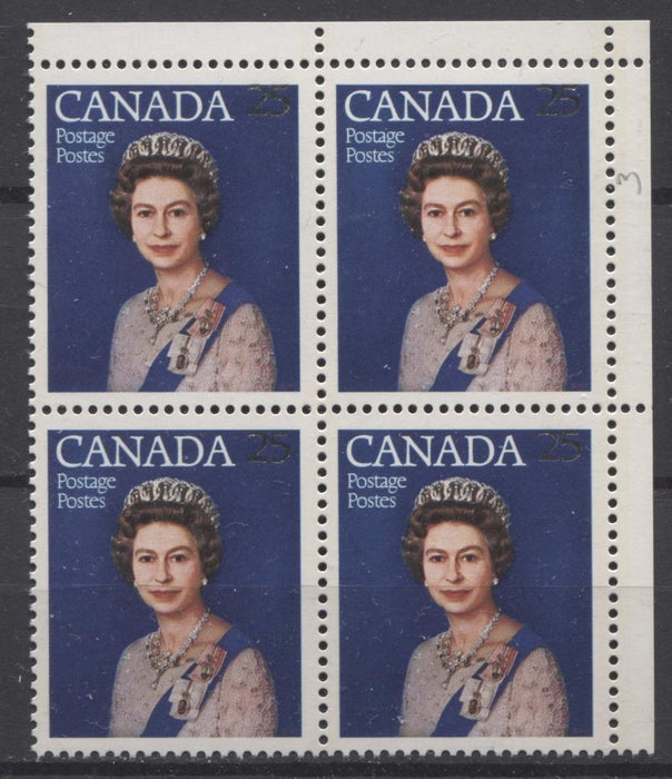 Canada #704 (SG#855) 25c Multicoloured Queen Elizabeth II 1977 Silver Jubilee Issue Paper Type 5 Blank UR Block VF-75 NH Brixton Chrome