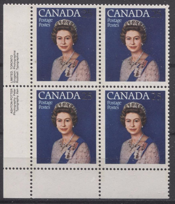 Canada #704 (SG#855) 25c Multicoloured Queen Elizabeth II 1977 Silver Jubilee Issue Paper Type 5 LL Block F-70 NH Brixton Chrome