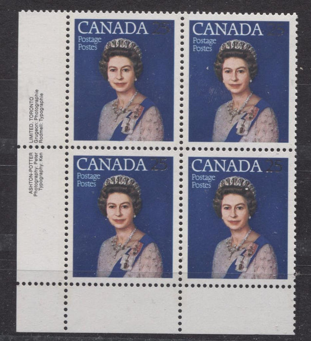 Canada #704 (SG#855) 25c Multicoloured Queen Elizabeth II 1977 Silver Jubilee Issue Paper Type 5 LL Block VF-84 NH Brixton Chrome