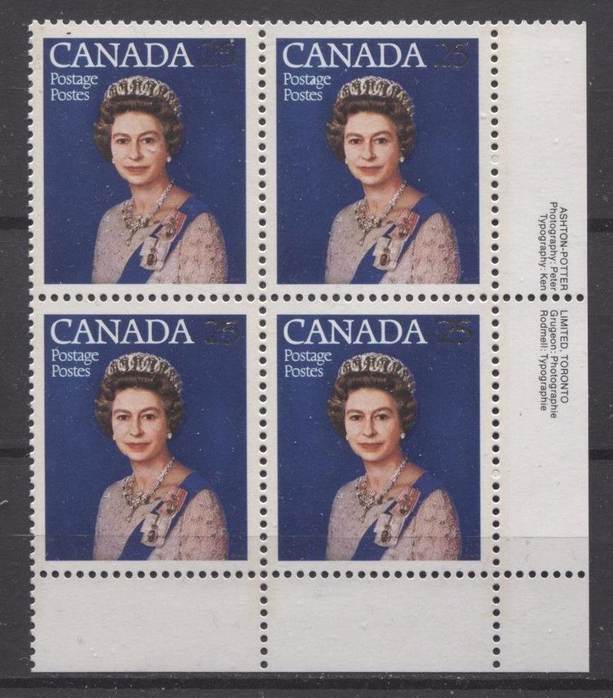 Canada #704 (SG#855) 25c Multicoloured Queen Elizabeth II 1977 Silver Jubilee Issue Paper Type 5 LR Block VF-80 NH Brixton Chrome