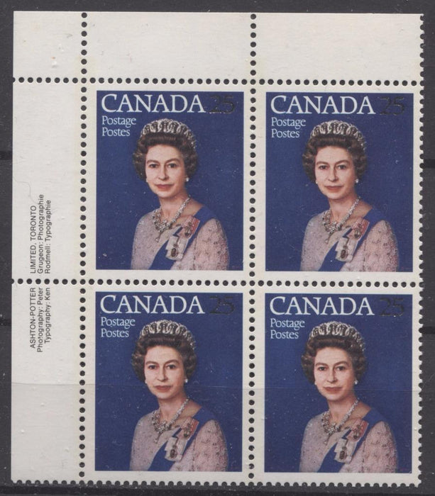 Canada #704 (SG#855) 25c Multicoloured Queen Elizabeth II 1977 Silver Jubilee Issue Paper Type 5 UL Block F-70 NH Brixton Chrome
