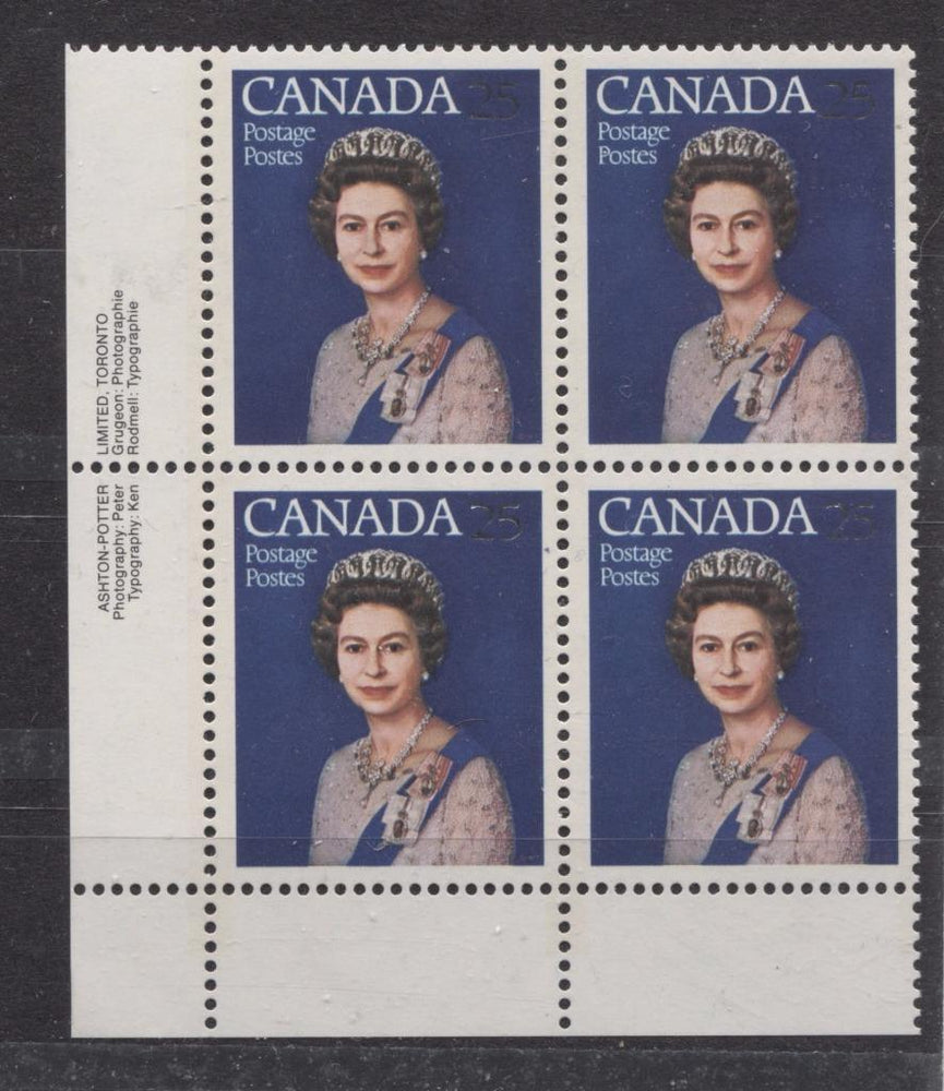 Canada #704 (SG#855) 25c Multicoloured Queen Elizabeth II 1977 Silver Jubilee Issue Paper Type 6 LL Block VF-80 NH Brixton Chrome
