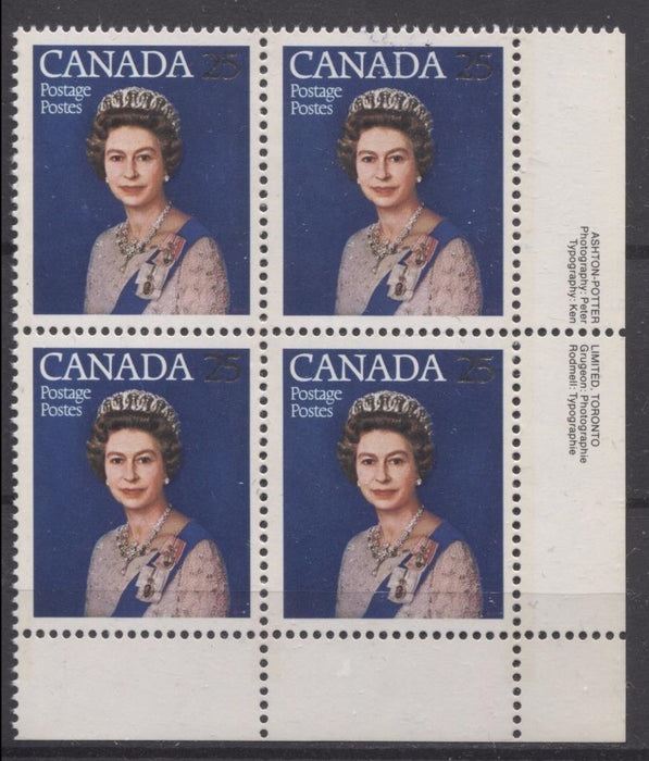 Canada #704 (SG#855) 25c Multicoloured Queen Elizabeth II 1977 Silver Jubilee Issue Paper Type 6 LR Block F-70 NH Brixton Chrome
