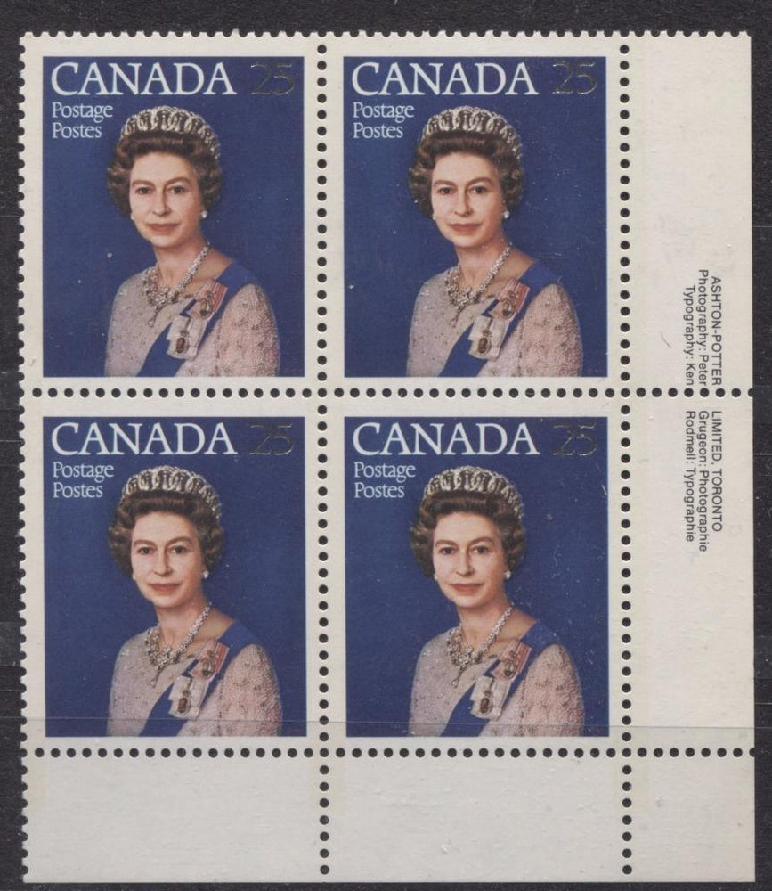 Canada #704 (SG#855) 25c Multicoloured Queen Elizabeth II 1977 Silver Jubilee Issue Paper Type 6 LR Block VF-75 NH Brixton Chrome