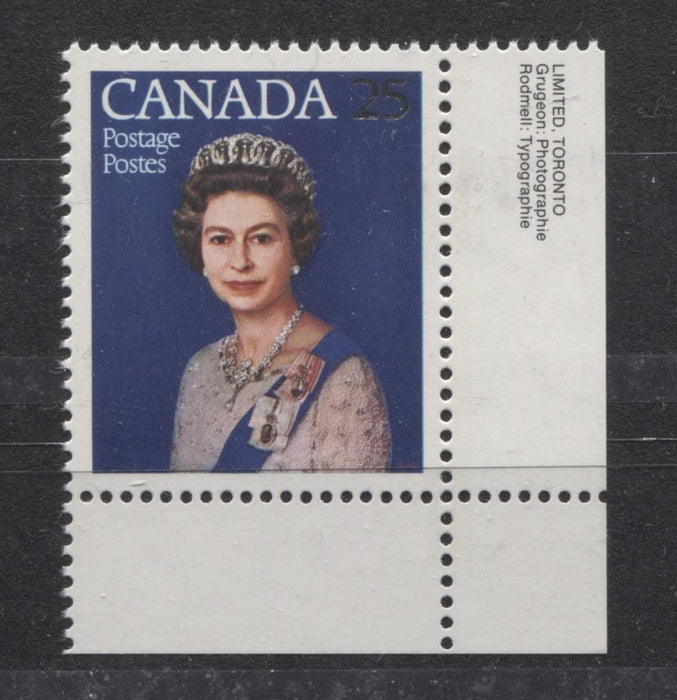 Canada #704 (SG#855) 25c Multicoloured Queen Elizabeth II 1977 Silver Jubilee Issue Paper Type 6 VF-84 NH Brixton Chrome