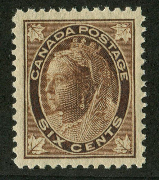 Canada #71 (SG#147) 6c Brown 1897-1898 Maple Leaf Issue on Vertical Wove Paper VF-84 LH Brixton Chrome