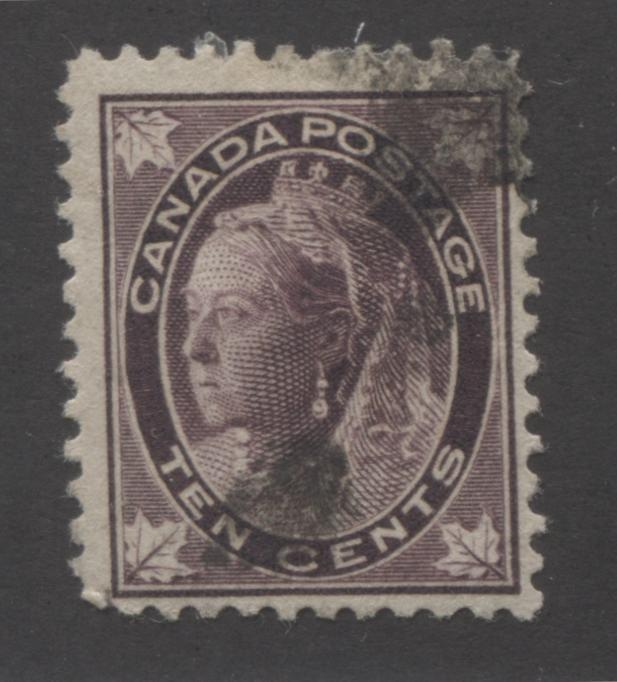 Canada #73 10c Deep Brown Violet Queen Victoria 1897-1898 Maple Leaf Issue Very Good Used Single on Horizontal Wove Paper Brixton Chrome