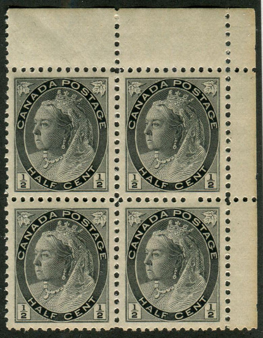 Canada 74i 1/2c Grey 1898-1902 Numeral Issue - Toned Ppr. Block of 4 - XF-92 NH Brixton Chrome