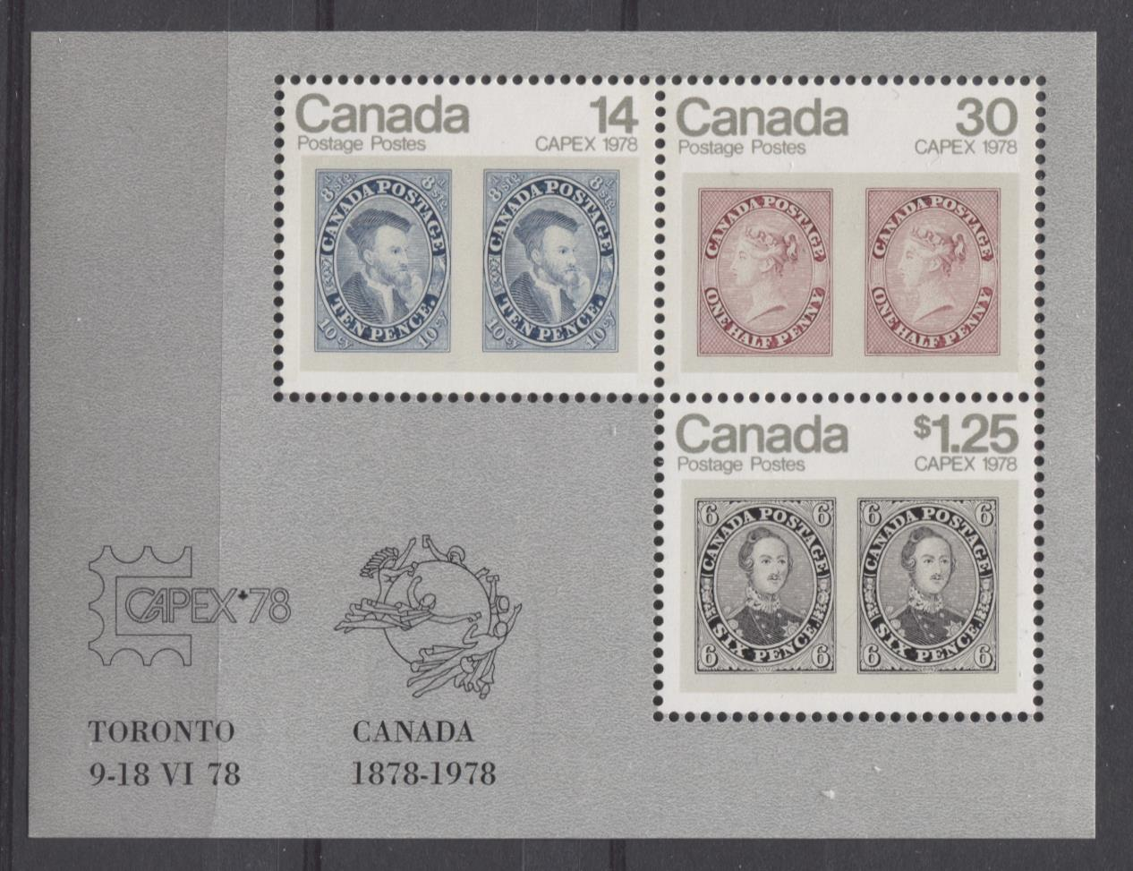 Canada #756a (SG#MS917) 1978 $1.69 Capex 78 Issue Souvenir Sheet on DF-fl Paper VF-75/80 NH Brixton Chrome