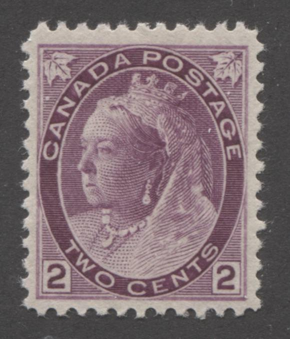 Canada #76ii 2c Deep Reddish Purple Queen Victoria 1898-1902 Numeral Issue on Vertical Wove Paper, VF Very Light Hinged Brixton Chrome