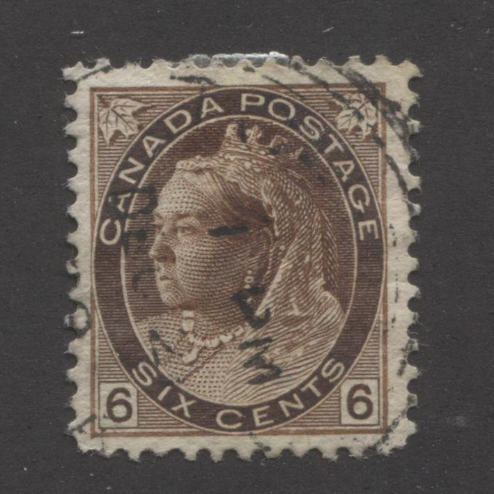 Canada #80 6c Deep Brown Queen Victoria, 1898-1902 Numeral Issue Fine Used Single on Horizontal Wove Paper Brixton Chrome