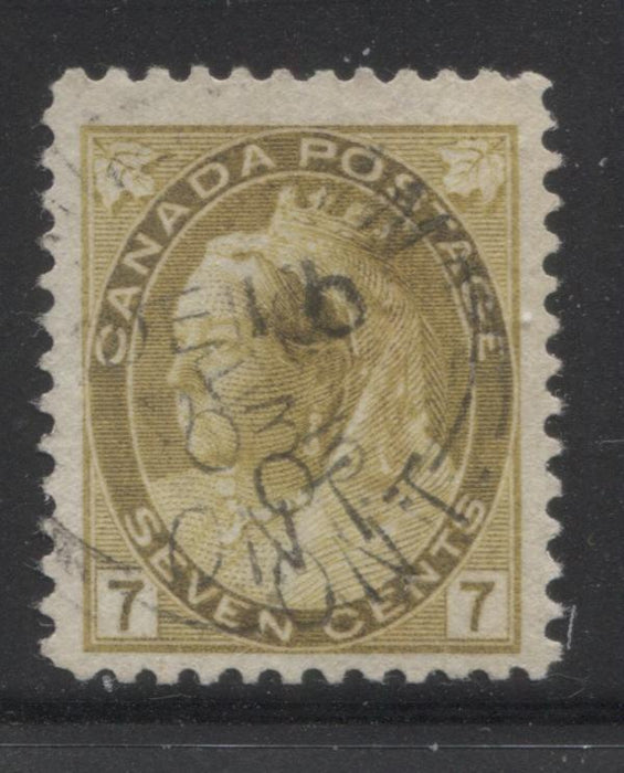 Canada #81 7c Greenish Bistre, Queen Victoria 1898-1902 Numeral Issue Very Fine Used Example in The Deepest Shade We've Seen Brixton Chrome