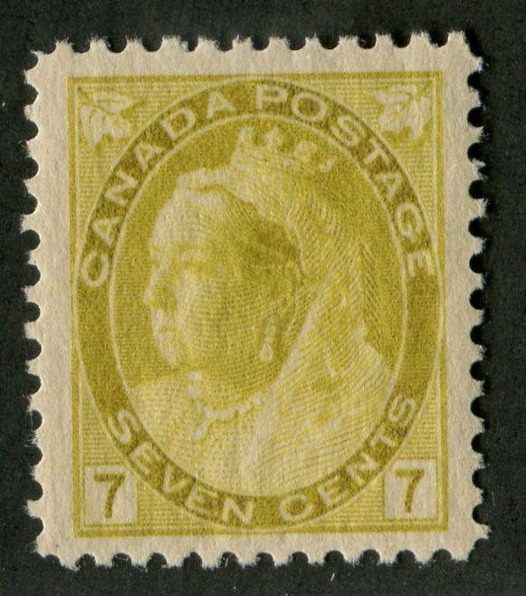 Canada #81 (SG#160) 7c Deep Yellow Olive 1898-1902 Numeral Issue VF-84 VLH Brixton Chrome