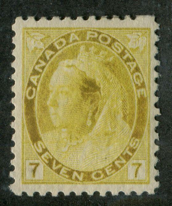 Canada #81i (SG#160) 7c Golden Yellow 1898-1902 Numeral Issue Misplaced Entry VF-82 OG Brixton Chrome