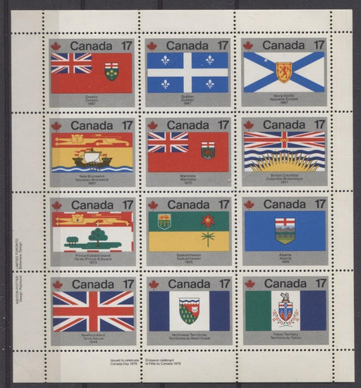 Canada #832a (SG#944ab) $2.04 1979 Canada Day Issue LL Miniature Pane of 12 DF-fl Paper VF-75 NH Brixton Chrome