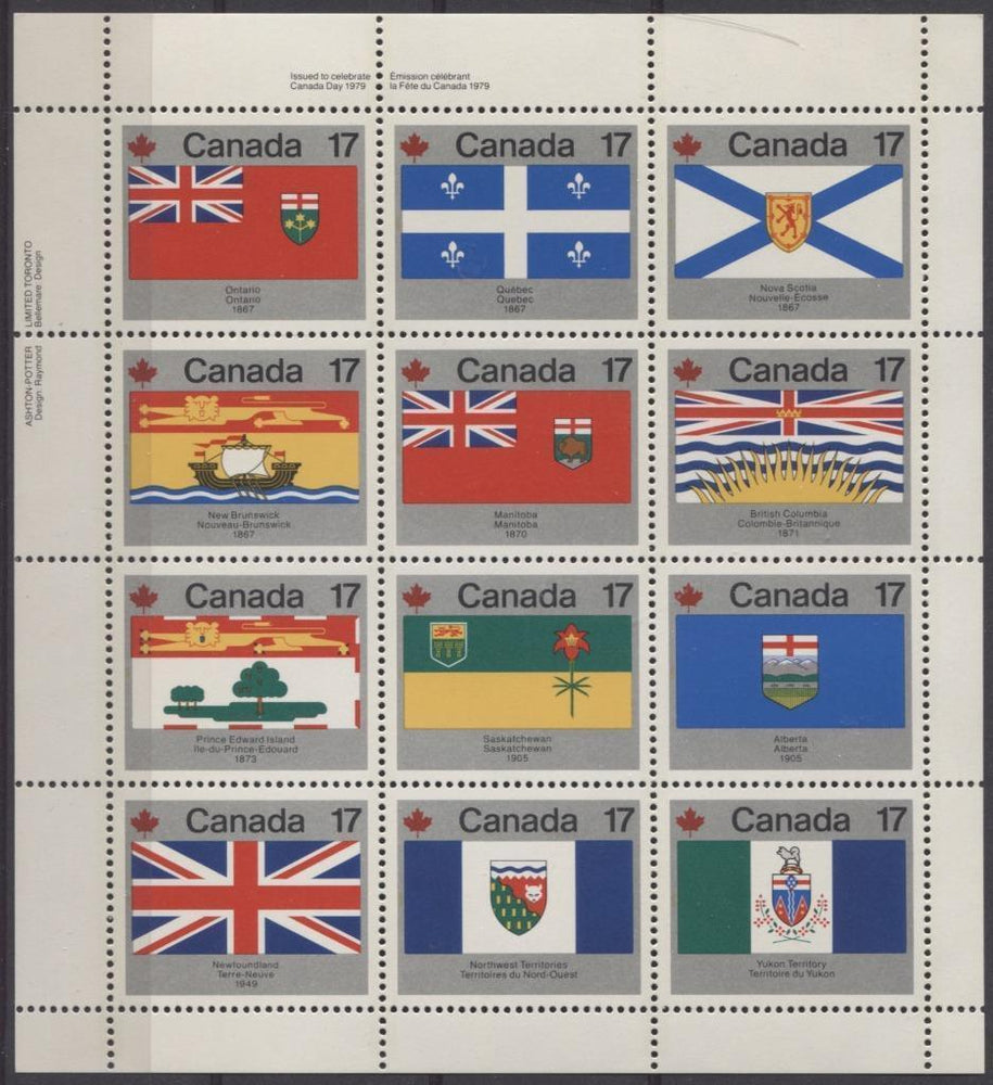 Canada #832a (SG#944ab) $2.04 1979 Canada Day Issue UL Miniature Pane of 12 DF Paper VF-84 NH Brixton Chrome