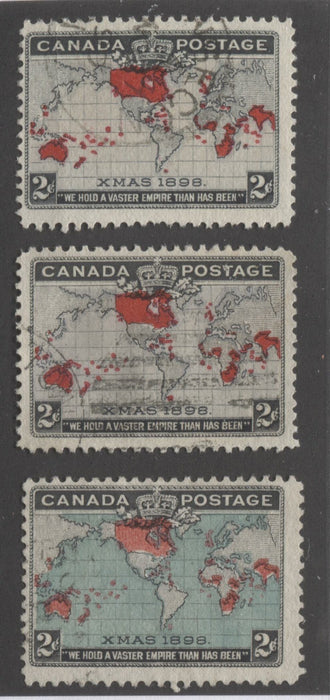 Canada #85, 85i, 86b 2c Lavender, Grey, Deep Blue, Black and Carmine, Mercator's Projection 1898 Imperial Penny Postage Issue Fine Used Examples Brixton Chrome