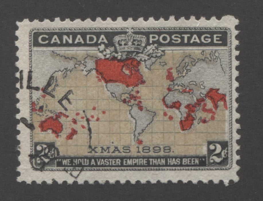 Canada #85i 2c Grey, Black and Carmine, Mercator's Projection 1898 Imperial Penny Postage Issue Fine Used Example of the Muddy Oceans Variety Brixton Chrome