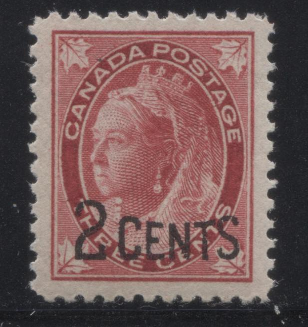 Canada #87 2c on 3c Carmine Queen Victoria, 1899 Surcharged Maple Leaf Issue, Very Fine NH Mint Example Brixton Chrome