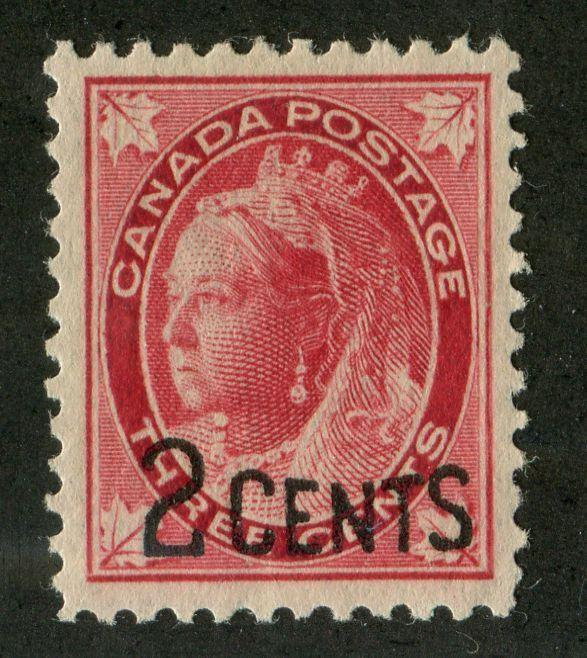 Canada #87 (SG#171) 2c on 3c Bright Rose Carmine 1899 Surcharges Normal Letter VF-80 OG Brixton Chrome