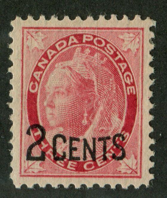 Canada #87 (SG#171) 2c on 3c Bright Rose Carmine 1899 Surcharges Pitted Letter VF-75 OG Brixton Chrome