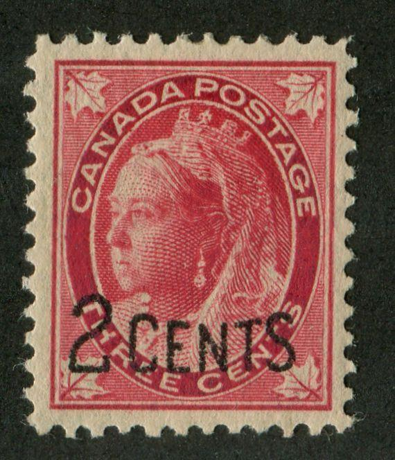 Canada #87 (SG#171) 2c on 3c Bright Rose Carmine 1899 Surcharges Pitted Letter VF-80 OG Brixton Chrome