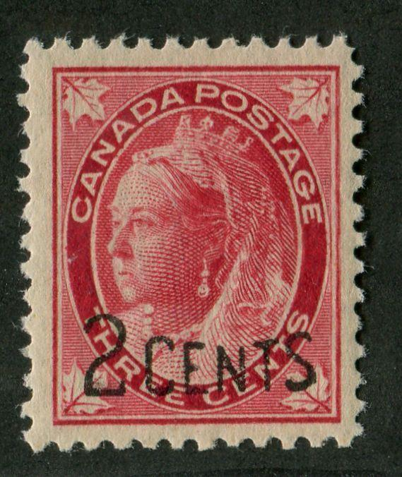 Canada #87 (SG#171) 2c on 3c Bright Rose Carmine 1899 Surcharges Re-Entry VF-78 OG Brixton Chrome