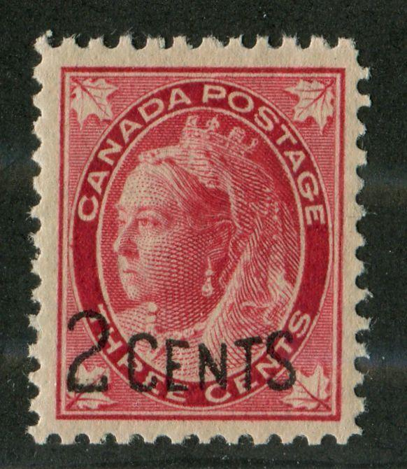 Canada #87 (#SG171) 2c on 3c Carmine 1899 Surcharges Pitted letters VF-80 NH Brixton Chrome