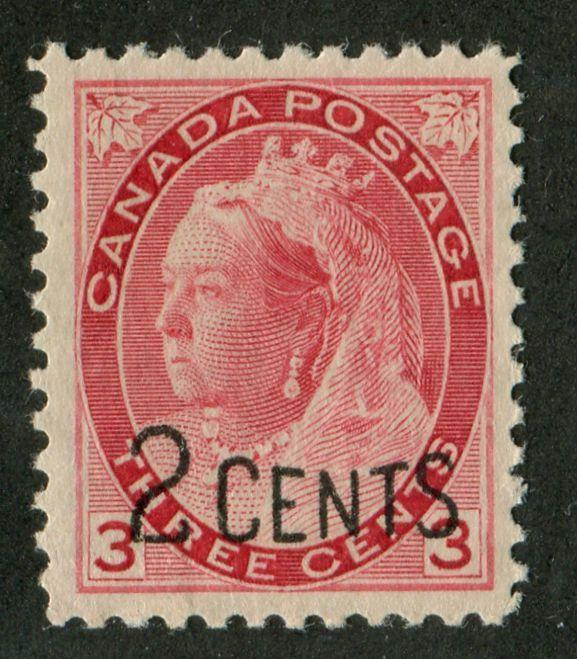 Canada #88 (SG#172) 2c on 3c Deep Bright Carmine-red 1899 Surcharges VF-80 OG HR Brixton Chrome