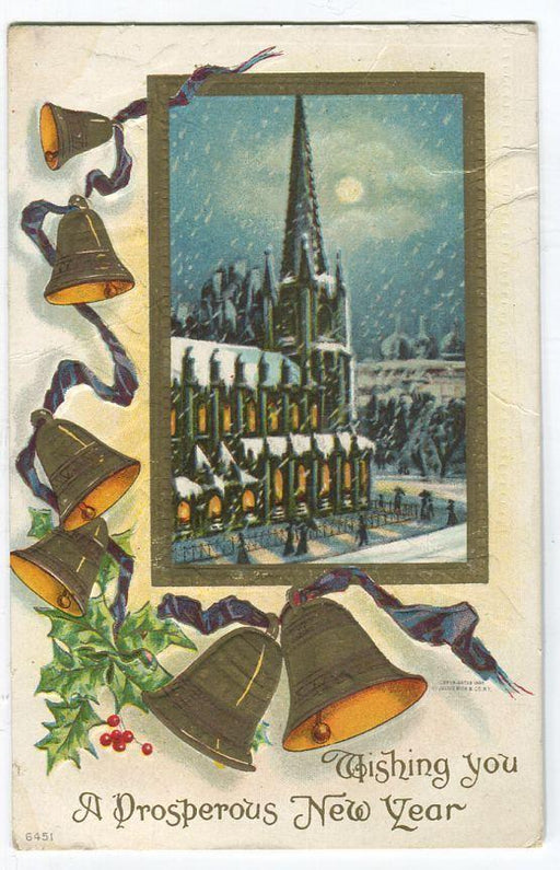 Canada #89 (SG#173) 1c Green on Local Multicoloured New Year Postcard F-72 Brixton Chrome