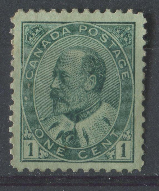Canada #89i (SG#174) 1c Deep Green King Edward VII Paper With No Visible Mesh VF-77 DOG Brixton Chrome