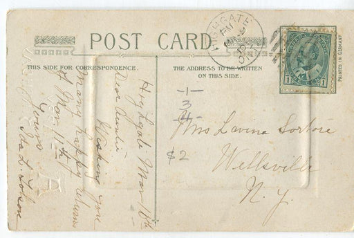 Canada #89ii (SG#175) 1c Grey Green on 1910 Local Multicoloured Birthday Postcard VF-81 Brixton Chrome