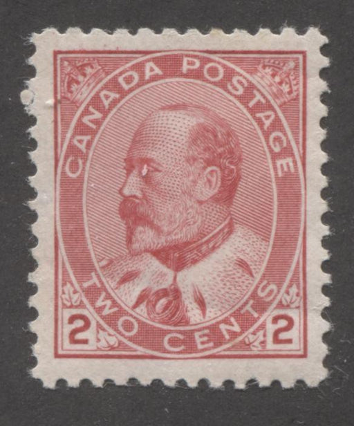 Canada #90 (SG#176) 2c Carmine Rose King Edward VII Type 2, A Very Fine Appearing OG HR Example Brixton Chrome