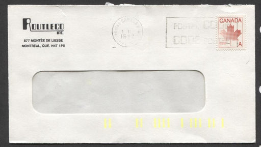 Canada #907ii G2aC (SG#1030) 30c Red 1981 Maple Leaf Definitive 1-Bar Tag On Cover MF XF-87 Brixton Chrome