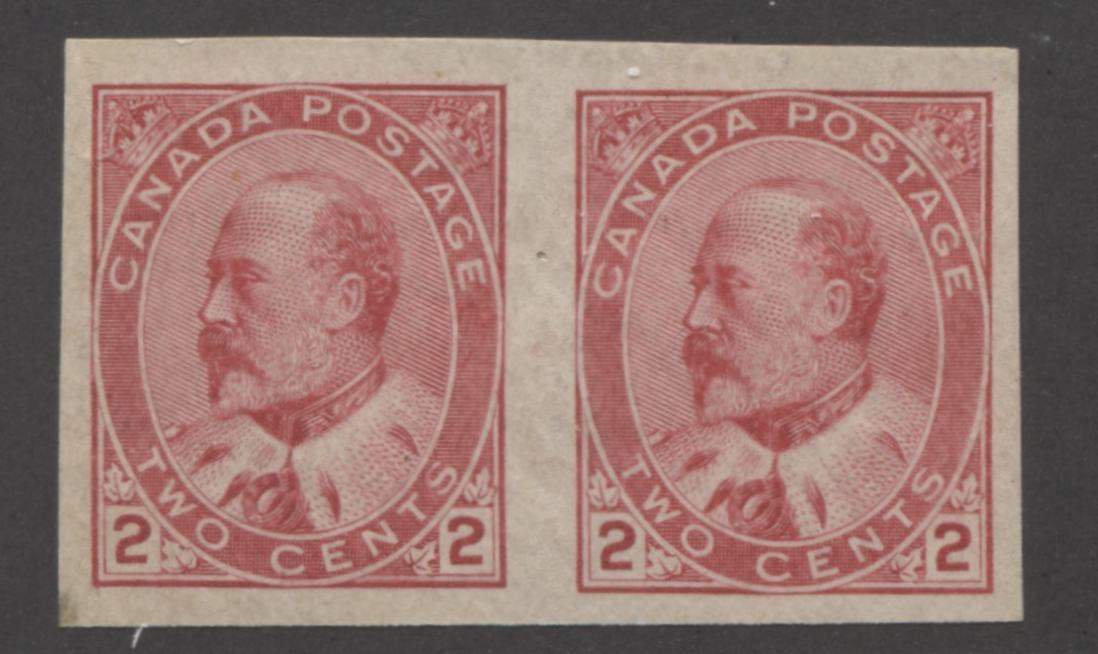 Canada #90A 2c Rose Carmine King Edward VII, 1903-1911 King Edward VII Issue, Very Fine NH Imperforate Pair Brixton Chrome