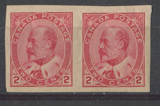 Canada #90A (SG#177a) 2c Carmine Rose Edward VII Type 2 Imperforate Pair VF-81 OG LH Brixton Chrome