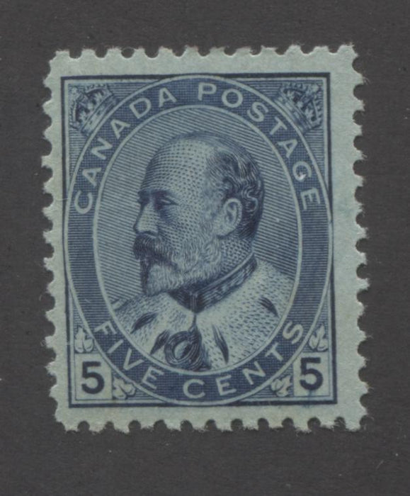 Canada #91 5c Deep Blue, King Edward VII 1903-1911 King Edward VII Issue Fine Mint OG Example Brixton Chrome