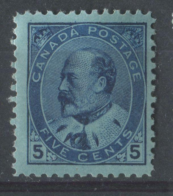 Canada #91 (SG#178) 5c Dark Blue Edward VII Horizontal Wove Paper With No Visible Mesh - F-65 OG Brixton Chrome