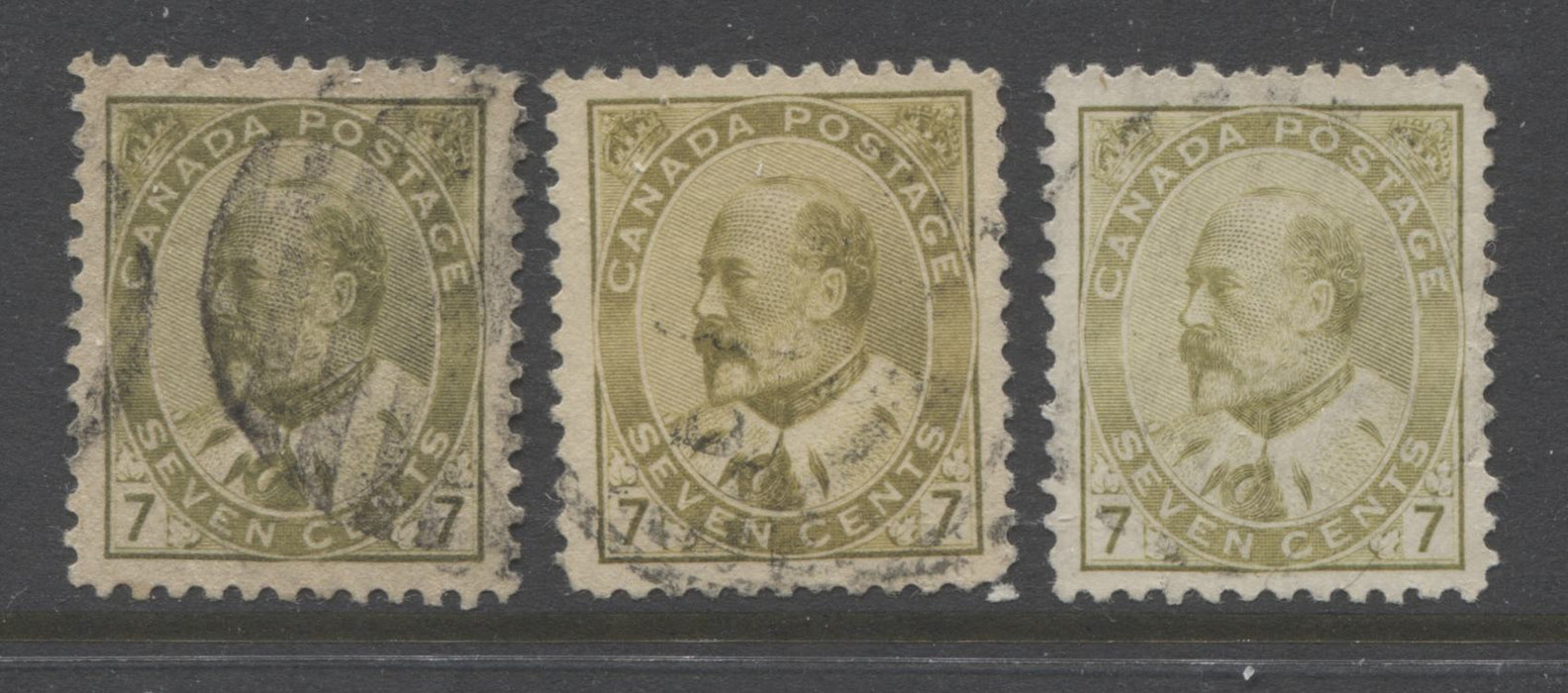 Canada #92-92ii 7c Olive Bistre, Greenish Bistre & Yellow Olive King Edward VII, Very Fine Used Examples of Three Different Shades Brixton Chrome