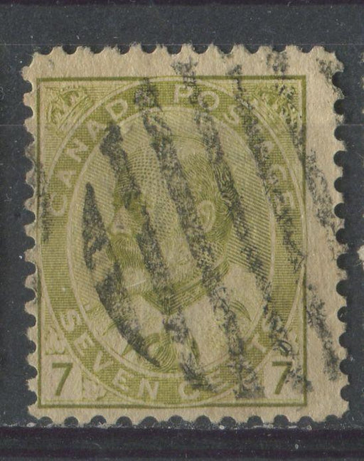 Canada #92ii (SG#180) 7c Pale Yellow Olive King Edward VII Coarse Vertical Mesh Paper VG-61 Used Brixton Chrome