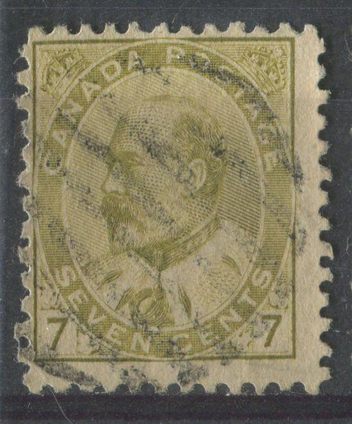 Canada #92ii (SG#180) 7c Pale Yellow Olive King Edward VII Coarse Vertical Mesh Paper VG-63 Used Brixton Chrome