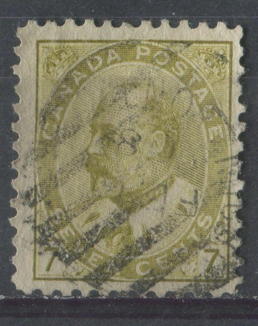 Canada #92ii (SG#180) 7c Pale Yellow Olive King Edward VII Fine Vertical Mesh Paper F-65 Used Brixton Chrome