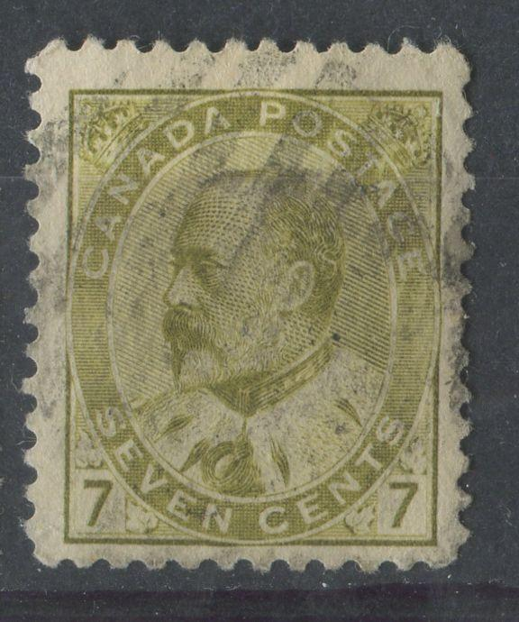 Canada #92ii (SG#180) 7c Pale Yellow Olive King Edward VII Fine Vertical Mesh Paper F-66 Used Brixton Chrome