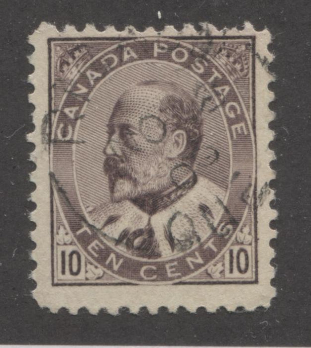 Canada #93 10c Deep Lilac Brown King Edward VII, 1903-1911 King Edward VII Issue, A Fine Dated Used Example Brixton Chrome